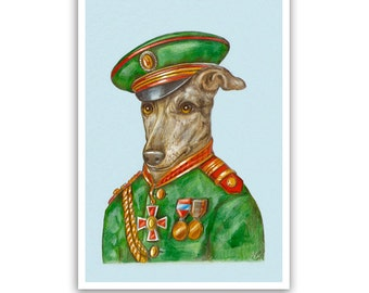 Greyhound Art Print - the Officer - Dog Gifts, Children Room Art - Pet Portraits by Maria Pishvanova