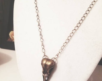 Bronze Bird Skull Necklace