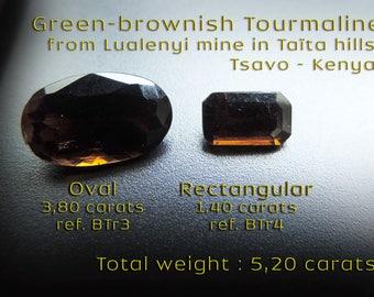 Two Kenyans Brownish Tourmalines : 5,2carats. #BTr3 / #BTr4.