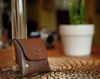 Handmade leather coin purse, earphone pocket