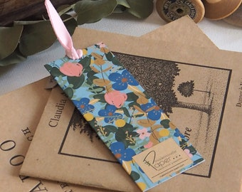 """Bookmark """"Blue flowers"""". Illustrated and crafted by Mademoiselle Paper. Reading, literary, literature, novel, book."""
