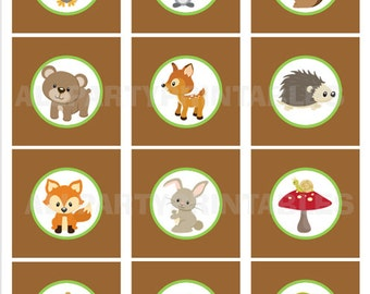 Woodland Animals, Woodland Cupcake Toppers, Woodland Baby Shower, Woodland Birthday, Woodland PRINTABLE Digital File