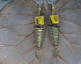 Chartreuse Picasso Czech Glass Artisan Earrings