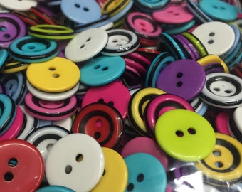 100pcs 15mm Mix Resin Round Buttons Cardmaking scrapbooking embellishments