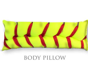 Softball Body Pillow-Extra Large Pillow-Sports Pillow Cover-Yellow Softball Pillow Cover-Long Body Pillow-Bed Pillow Cover-Bed Bolster