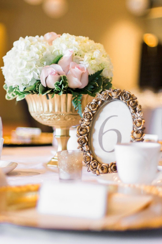 Gold goblet bouquet wedding flowers gold pedestal vase zoom reviewsmspy