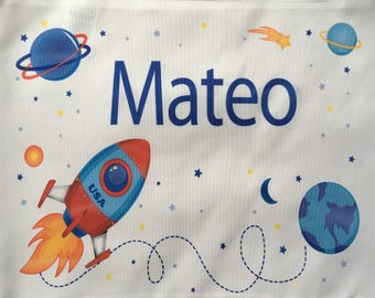 Personalized pillow with name and motif rocket