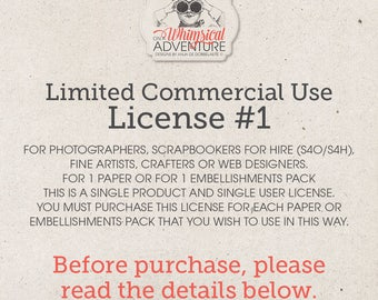 Limited Commercial Use License For Photographers, Scrapbookers For Hire, Artists, Crafters or Web Designers For 1 Paper or Elements Pack