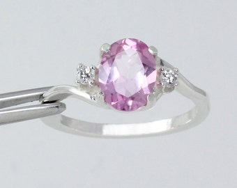 Pink Sapphire Sterling Silver Ring with Diamonds (Lab) / Sapphire Silver Ring