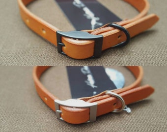 Tan Handmade Leather Dog Collar