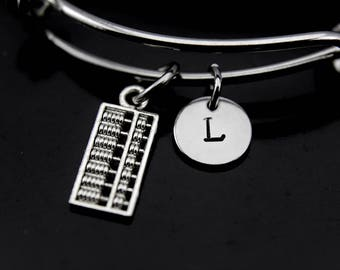 Abacus Bracelet, Abacus Bangle, Abacus Charm, Counting Charm, Calculator Charm, Accountant Gift, Bookkeeping Gift, Personalized Bangle