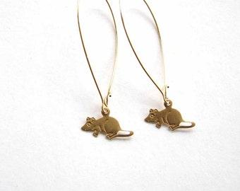 tiny rat earrings - brass mouse earrings