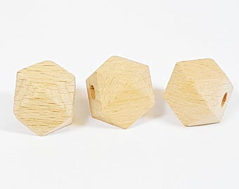wooden beads, Hexagon beads, Natural beads, Wood Beads, large hole beads, Large wooden beads, unfinished beads organic beads Geometric Beads