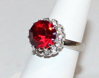 Vintage Ruby Red and Clear Rhinestone Adjustable Ring