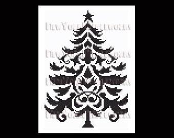 Christmas Tree Cross Stitch, Christmas Tree Silhouette, Cross Stitch, Christmas Cross Stitch, Christmas Silhouette from NewYorkNeedleworks