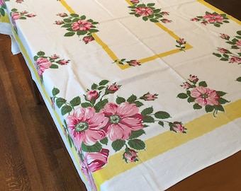 Vintage Startex Tablecloth, White with Yellow Border, Pink Roses and Greenery