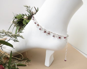 Garnet With Rose Quartz Anklet- Red-Pink Gemstone Anklet In Sterling- January Birthstone- 8.75-10.5 Inches- Wire Wrapped Anklet