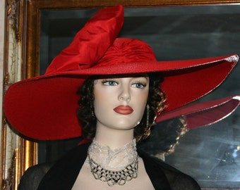 "Kentucky Derby Hat, Ascot Hat, Edwardian Hat, Wedding Hat, Church Hat, Red Hat Society, 22"" Wide Brim Hat,  Tea Party Hat - Titanic"