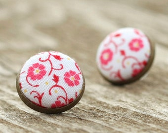 Flower Stud Earrings - Pink on White Earrings - Pink Floral, Shabby Romantic Chic, Fabric Covered Buttons, Jewelry, Antique Posts