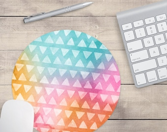 Rainbow Aztec Mouse Pad, Watercolor Mouse Pad, Tribal Mouse Pad (0072)