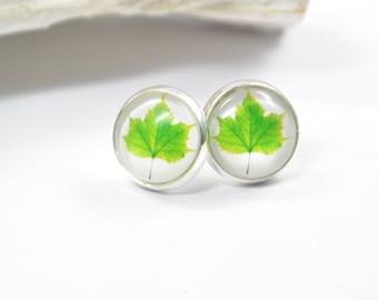 Earrings Leaf green