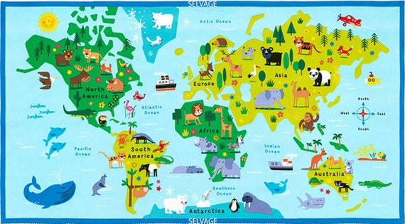 world map fabric for kids travel explorer fabric fun diy educational project for children 100 cotton fabric for all sewing projects