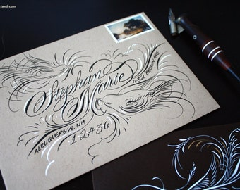 Luxury Bird Envelope Calligraphy Addressing