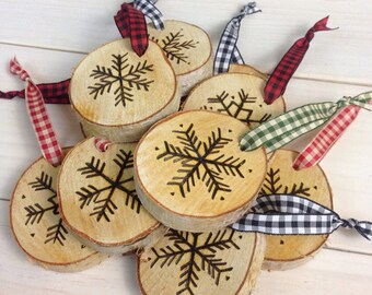 Set of 3 Rustic Hand-Etched Birch Snowflake Ornaments  |  Wood Burned Log Slice Ornaments