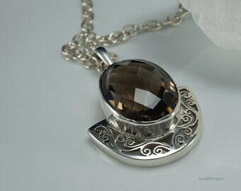 Black-brown Smoky Quartz silver pendant necklace, Oval faceted cut, perforate filigree Sterling silver, unique  jewelry for men & women