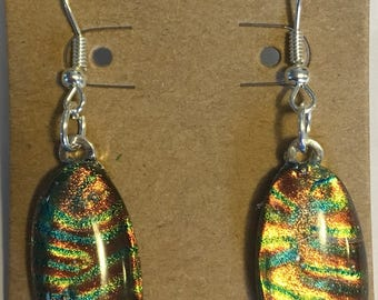"""Dichroic Glass Earrings with Gorgeous Shimmering Orange and Green Oval Stones on Hypoallergenic Ear Wires - About 2"""" long"""