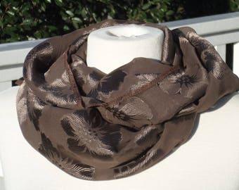 Snood loop scarf women Brown viscose silk neck scarf