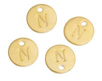 Letter N - Pendant 12mm gold gilt