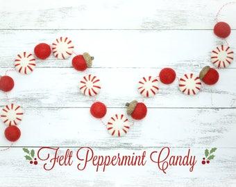 Peppermint Candy // Felt Peppermint Candies // Felt Peppermint Patties  //  Christmas Felt Peppermints - Set of 10