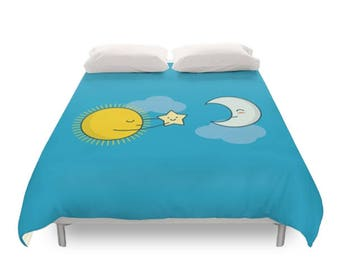Sun and Moon Duvet Cover - Cute Doodles