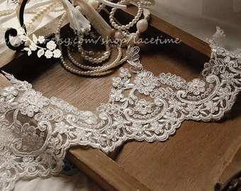 Off White Alencon Lace Trim, Floral Bridal Lace Trim ,Wedding Veil Bridal Lace Trim, Wedding Fabric Lace