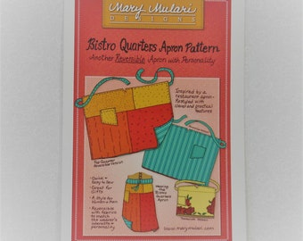 Bistro Quarters Apron Pattern designed by Mary Mulari Designs, Reversible, Fat Quarter Friendly, Quick & Easy to Sew