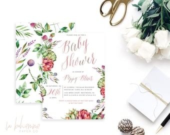 Printable Baby Shower Invitation /  Boho Baby Shower, Wildflowers, Baby Shower Invite - Poppy's Garden
