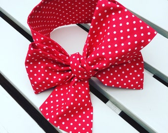 Baby Toddler Girl's Headwrap Big Bow Cotton Headband hair bow turban bandana accessories in red and white 100% cotton spotty fabric