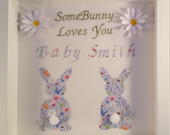 New Baby Small Framed Nursery Picture: 'SomeBunny Loves You' can be personalised.
