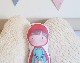 Red Riding Hood doll - Stuffed doll - Little Red Riding pillow - Red riding doll - Fairy tale doll - Handmade soft doll - Fairy tale doll