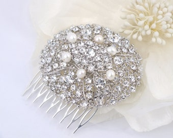 Kimberly - Freshwater Pearl and Austrian Rhinestone Bridal Comb