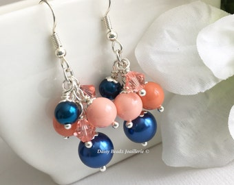 Shades of Coral and Navy Earrings Coral Earrings Pearl Cluster Earrings Coral Navy Earrings Bridesmaid Earrings Coral Wedding 2017