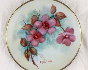 Vintage 1994 Hand-Painted Porcelain Plate, Pink Dogwoods, Decorative Plate
