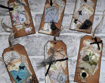 6 Handmade Vintage gift tags. Junk journal tags. Scrapbooking tags. Mixed media