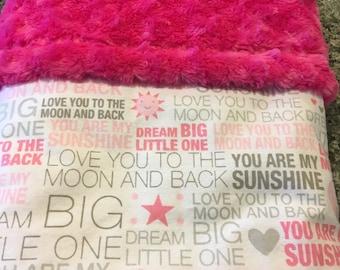"""Dream Little One Baby Blanket/Girls baby blanket/Stroller Blanket/Nursery bedding/31""""x31""""/Baby Shower gift/Cuddling Blanket/Sunshine"""