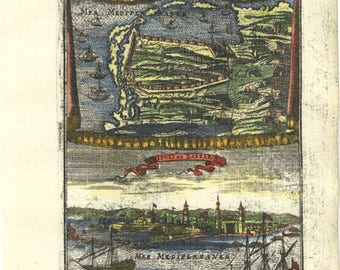 17th Century Hand colored Copper Engraving, Maritime View map of TRIPOLI, BARBARY COAST,,decorative art, ships,boats Original print