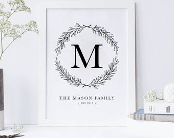 Family Initial Established Name Sign PRINTABLE
