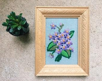Vintage Embroidered Purple Flowers, Framed Crewel, Needlepoint // SALE