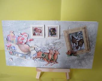 3D card (embossed) Santa Claus in his sleigh pulled by reindeer