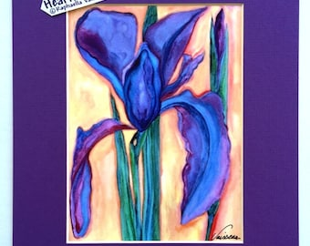 PURPLE IRIS 8x10 Flower PRINT Home Bathroom Kitchen Decor Mom Mother's Day Birthday Gift 4 Women Gardener Heartful Art by Raphaella Vaisseau